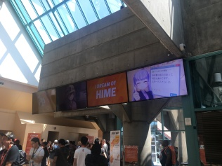 The convention center comes fitted with these displays, which were filled to the brim with a variety of Crunchyroll programming